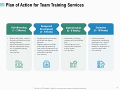 Staff Engagement Training And Development Plan Of Action For Team Training Services Inspiration PDF