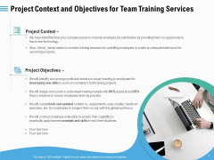 Staff Engagement Training And Development Project Context And Objectives For Team Training Services Portrait PDF