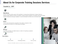 Staff Engagement Training And Development Proposal About Us For Corporate Training Sessions Services Inspiration PDF