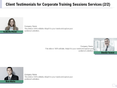 Staff Engagement Training And Development Proposal Client Testimonials For Corporate Training Sessions Services Professional PDF