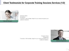 Staff Engagement Training And Development Proposal Client Testimonials For Corporate Training Sessions Services Teamwork Topics PDF