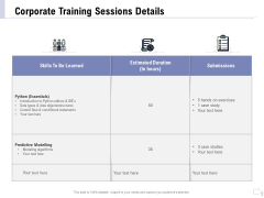 Staff Engagement Training And Development Proposal Corporate Training Sessions Details Elements PDF