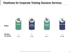 Staff Engagement Training And Development Proposal Timeframe For Corporate Training Sessions Services Formats PDF