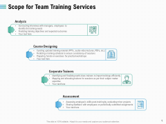 Staff Engagement Training And Development Scope For Team Training Services Inspiration PDF