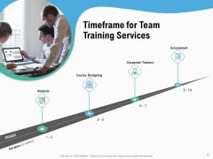 Staff Engagement Training And Development Timeframe For Team Training Services Mockup PDF