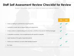 Staff Self Assessment Review Checklist For Review Ppt PowerPoint Presentation File Background Image PDF
