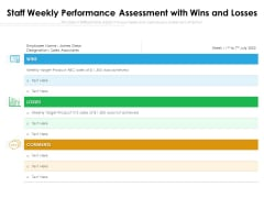 Staff Weekly Performance Assessment With Wins And Losses Ppt PowerPoint Presentation Infographic Template Gallery PDF