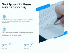 Staffing Offshoring Proposal Client Approval For Human Resource Outsourcing Brochure PDF