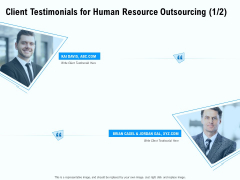 Staffing Offshoring Proposal Client Testimonials For Human Resource Outsourcing Communication Portrait PDF