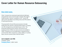 Staffing Offshoring Proposal Cover Letter For Human Resource Outsourcing Clipart PDF