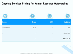 Staffing Offshoring Proposal Ongoing Services Pricing For Human Resource Outsourcing Ppt Show Format PDF