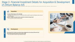 Stage 2 Financial Investment Details For Acquisition And Development Of Zithium Balance A S Information PDF