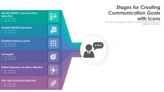 Stages For Creating Communication Goals With Icons Ppt PowerPoint Presentation File Graphics Example PDF