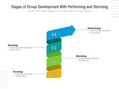 Stages Of Group Development With Performing And Storming Ppt PowerPoint Presentation Pictures Master Slide PDF