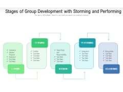 Stages Of Group Development With Storming And Performing Ppt PowerPoint Presentation Gallery Layout Ideas PDF