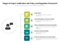 Stages Of Project Justification With Policy And Regulation Framework Ppt PowerPoint Presentation File Deck PDF