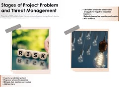 Stages Of Project Problem And Threat Management Ppt PowerPoint Presentation Infographics Graphics Pictures PDF
