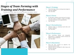 Stages Of Team Forming With Training And Performance Ppt PowerPoint Presentation Outline Show PDF