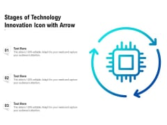 Stages Of Technology Innovation Icon With Arrow Ppt PowerPoint Presentation Gallery Deck PDF
