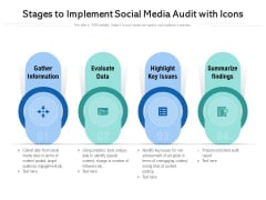 Stages To Implement Social Media Audit With Icons Ppt PowerPoint Presentation Icon Diagrams PDF