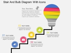 Stair And Bulb Diagram With Icons Powerpoint Template