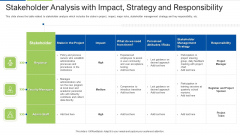 Stakeholder Analysis With Impact Strategy And Responsibility Formats PDF