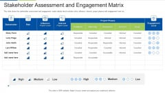 Stakeholder Assessment And Engagement Matrix Elements PDF