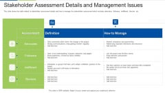Stakeholder Assessment Details And Management Issues Ideas PDF