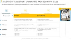 Stakeholder Assessment Details And Management Issues Template PDF