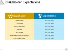 Stakeholder Expectations Ppt PowerPoint Presentation Model Inspiration