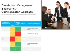 Stakeholder Management Strategy With Communication Approach Ppt PowerPoint Presentation Pictures Ideas PDF