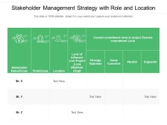 Stakeholder Management Strategy With Role And Location Ppt PowerPoint Presentation Infographic Template Pictures PDF