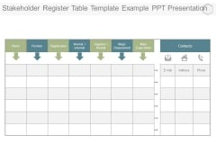 Stakeholder Register Table Template Example Ppt Presentation