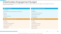 Stakeholders Engagement Budget Ppt Outline Skills PDF