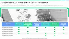 Stakeholders Participation Project Development Process Stakeholders Communication Updates Checklist Pictures PDF