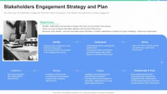 Stakeholders Participation Project Development Process Stakeholders Engagement Strategy And Plan Infographics PDF