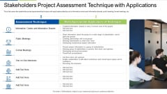 Stakeholders Project Assessment Technique With Applications Slides PDF