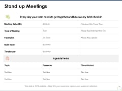 Stand Up Meetings Ppt PowerPoint Presentation Inspiration Ideas