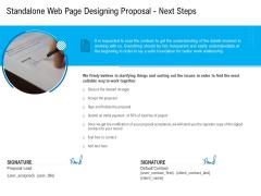 Standalone Web Page Designing Proposal Next Steps Ideas PDF