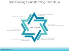 Star Busting Brainstorming Technique Ppt PowerPoint Presentation Summary