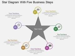 Star Diagram With Five Business Steps Powerpoint Templates