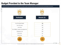 Star Employee Budget Provided To The Team Manager Ppt Ideas Microsoft PDF