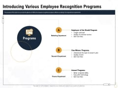 Star Employee Introducing Various Employee Recognition Programs Download PDF