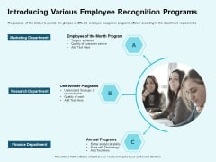 Star Performer Introducing Various Employee Recognition Programs Mockup PDF