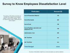 Star Performer Survey To Know Employees Dissatisfaction Level Awards Graphics PDF