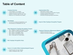 Star Performer Table Of Content Ppt Gallery Sample PDF