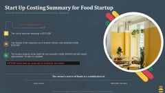 Startup Pitch Deck For Fast Food Restaurant Start Up Costing Summary For Food Startup Microsoft PDF