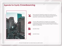 Startup Pitch To Raise Capital From Crowdfunding Agenda For Equity Crowdsourcing Summary PDF