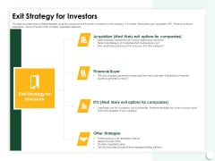Startup Presentation For Collaborative Capital Funding Exit Strategy For Investors Ppt Ideas Graphics Example PDF