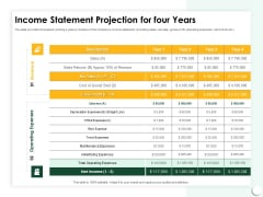 Startup Presentation For Collaborative Capital Funding Income Statement Projection For Four Years Ppt Show PDF